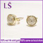 LS Real 14.K G.old Dazzling Droplets Stud <b>Earrings</b> For Women Brincos Sterling <b>Silver</b> Fine European Jewelry N