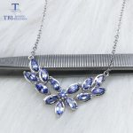 TBJ ,Special design,elegant <b>necklace</b> with natural tanzanite gemstone in 925 sterling <b>silver</b> with gift box for girls & women