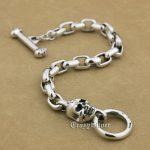 7 Lengths 925 Sterling <b>Silver</b> Handmade Skull Mens Biker Punk <b>Bracelet</b> 9N014