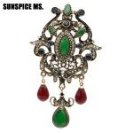 Sunspice Ms Vintage Brooch <b>Jewelry</b> Elegant Design Unique Natural Stone Indian Women <b>Antique</b> Gold Color Resin Flower Corsage Pin