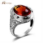 Luxury Birthstone Ring Brown Amber Vintage 925 Sterling <b>Silver</b> Victoria Wieck Wedding Rings For Women Fashion Tiffan <b>Jewelry</b>