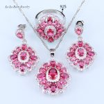L&B Best Princess Pink Jewelry Sets 925 stamp <b>Silver</b> Color Wedding Jewelry Sets For Women Pedant <b>Necklace</b> Earring Ring