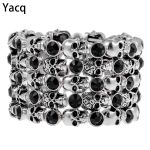 YACQ Skull Skeleton Stretch Cuff Bracelet for Women Biker Bling Crystal <b>Jewelry</b> Antique Silver Color Wholesale Dropshipping D07