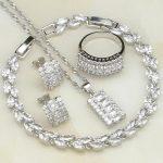 925 Sterling <b>Silver</b> Jewelry White Australian Crystal Jewelry Sets For Women Wedding <b>Bracelets</b>/Necklace/Pendant/Earrings/Ring
