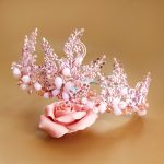 New <b>Handmade</b> Alloy Beaded <b>Jewelry</b> High End Bridal Tiara Rhinestone Wedding Dress Headdress Ornaments Painted Pink Crystal Crown