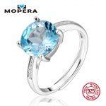 Mopera Genuine 925 Sterling <b>Silver</b> <b>Jewelry</b> Rings For Women 9MM 4ct Round Natural Blue Topaz Fine <b>Jewelry</b> Engagement Wedding Ring