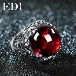 EDI Luxury Vintage 100% 925 <b>Silver</b> Garnet Gemstone Rings Fashion Round Resizeble Ring To Women Power Queen Noble <b>Jewelry</b> Ring