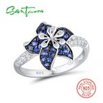 SANTUZZA Silver Flower Ring For Women 925 Sterling Silver Blooming Flower Blue White Cubic Zirconia Exquisite Ring Party <b>Jewelry</b>