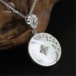 Lotus Fun Real 925 <b>Sterling</b> <b>Silver</b> Natural Shell Handmade Fine <b>Jewelry</b> Retro Round Pendant without Chain Acessorios for Women