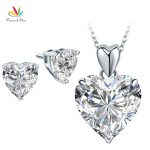 Peacock Star Solid 925 Sterling Silver Heart Pendant Necklace Earrings Set Bridesmaid Wedding <b>Jewelry</b> FN8043+FE8084