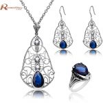 Fashion Jewelry Dubai Natural Pearl Jewelry Set Blue CZ Stones 925 Sterling <b>Silver</b> Sets For Women Vintage <b>Earring</b> Ring Pendant