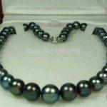 Hot!8-9mm Black freshwater pearl necklace 18inch 2 pieces/lot DIY women <b>jewelry</b> handmade <b>making</b> design