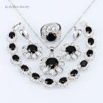 L&B Black Garnet White Zircon <b>silver</b> Color 925 Stamp Jewelry Sets Necklace Pendant/<b>Bracelet</b>/ Earrings/Ring For Women