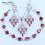 Costume <b>Silver</b> 925 Jewelry Sets Red/Purple/Green/Blue Stones White Cubic Zirconia Earrings/Pendant/Necklace/<b>Bracelets</b> For Women