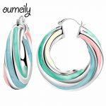 OUMEILY Hoop Earrings For Women Big Large Geometric Earrings Female Wedding Silver Color Metal <b>Fashion</b> <b>Jewelry</b> Earring