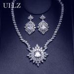 UILZ Luxury Bridal Wedding Party Flower Costume <b>Jewelry</b> Set Elegant CZ Zircon Crystal <b>Necklace</b> & Earrings Set For Brides US294