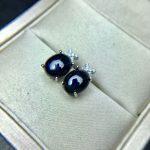 sapphire <b>earrings</b> natural dark blue gemstone solid 925 <b>silver</b> gemstone <b>earrings</b> for woman