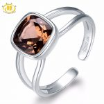 HUTANG Stone <b>Jewelry</b> Natural Smoky Quartz 925 Sterling <b>Silver</b> Open Ring Fine Fashion Gemstone <b>Jewelry</b> For Women't Gift