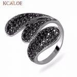 KCALOE Long Vintage Rings For Women Black Crystal Rhinestone <b>Jewelry</b> Anillos <b>Antique</b> Silver Plated Retro Big Leaf Ring Anel