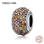 StrollGirl 925 Silver Beads European colorful round Charms with CZ stone Fit Original charm Bracelet DIY <b>jewelry</b> <b>making</b> gifts