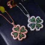 natural green jade pendant S925 <b>Sterling</b> <b>silver</b> Natural gemstone Pendant Necklace trendy Elegant Lucky clover women girl <b>jewelry</b>