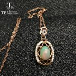 TBJ ,925 sterling <b>silver</b> pendant with ethopian opal ,Ethopian Opal good quality <b>necklace</b> with gift box
