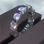 <b>Handmade</b> Engagement Bands ring 5mm AAAAA zircon cz Wedding Rings for women men White Gold Filled Bridal Finger <b>Jewelry</b>