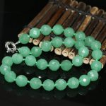 High-grade green 12mm chaeming Aventurine jades chalcedony faceted round noble beads diy hot sale Necklace <b>making</b> 18 inch MY1397
