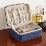<b>Fashion</b> Korean Style Embossing <b>Jewelry</b> Storage Box PU Leather Portable Travel Earring Rings Storage Box Jewellery Case Organizer