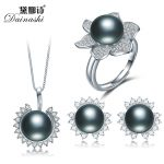 Girl Sun Zircon Pendant Necklace Luxury Bling Stud <b>Earrings</b> Women <b>Silver</b> Pated Flower Ring Adjustable Wedding Paty Jewelry Set
