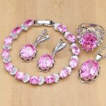 Crown 925 <b>Silver</b> Jewelry Sets Cute Pink Cubic Zirconia Jewelry Set For Women Earrings/Pendant/Rings/<b>Bracelet</b>/Necklace Set