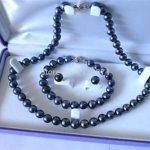 DIY 7-8mm Black Akoya Cultured Pearl Necklace Bracelet Earring Set wholesale Hot fascinating Fashion <b>Jewelry</b> <b>Making</b> Design W0343