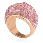 Rose Gold-Color Stainless Steel Romantic Austrian Pink Crystal Engagement Rings for Women <b>Jewelry</b>