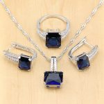 Mystic Square Blue Zircon Silver 925 <b>Jewelry</b> Sets For Women Wedding <b>Accessories</b> Earrings/Pendant/Necklace/Rings