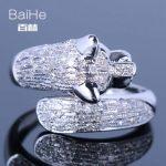 BAIHE <b>Sterling</b> <b>Silver</b> 925 0.9CT Certified H/SI Round Genuine Natural Diamonds & Black Diamonds Women Trendy Fine Jewelry <b>Ring</b>