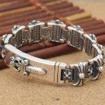 Wholesale S925 <b>Sterling</b> <b>Silver</b> <b>Jewelry</b> Holy Sword Male Thai <b>Silver</b> Bracelet Trend Domineering Thick <b>Silver</b> Chain Punk Style