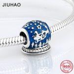 925 Sterling Silver Santa Claus and deer blue Enamel wish ball beads Fit Original Pandora Charm Bracelet <b>Jewelry</b> <b>making</b>