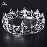Snuoy Diadem Full Round King Crown Luxury Crystal Men Imperial Tiaras 4 Styles Wedding Hair Accessories <b>Jewelry</b> Hot Selling