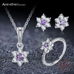 ANFASNI Newest 925 Sterling <b>Silver</b> Jewelry Sets Forget Me Not Floral With Purple & Clear CZ Women Luxury Wedding Jewelry PSST12
