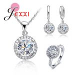 JEXXI Top Quality Exquisite 925 Sterling Silver Women <b>Wedding</b> Necklace Earring Ring Zircon Crystal Fancy <b>Jewelry</b> Sets