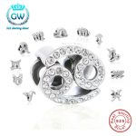 <b>Fashion</b> 12 Zodiac Sign Clear CZ Bead Fit Pandora charms silver 925 original Bracelet Best Brithday GIft for Women's DIY <b>Jewelry</b>