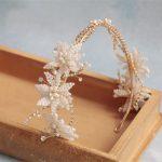 Jonnafe Generous Beaded Flower Bridal Tiara Crown Pearls Wedding Hair <b>Jewelry</b> Accessories Gold Headband Women Tiaras Handmade