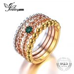 JewelryPalace 925 Sterling <b>Silver</b> Emerald 3 Tone 4 Rope Band Stackable Ring Set Fashion Design Fine <b>Jewelry</b>