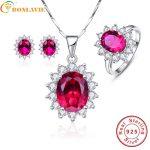 BONLAVIE Princess Diana Sun Flower Decoration Ruby Wedding Bridal <b>Earrings</b>& Necklaces& Rings Jewelry Sets Sterling <b>Silver</b> 925