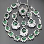 Silver 925 <b>Jewelry</b> Green Zirconia Bridal Women <b>Jewelry</b> Sets Earrings With Stones Set of Bracelets Pendant Necklace Ring Gift Box