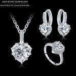 ANFASNI 2016 New Romantic <b>Wedding</b> <b>Jewelry</b> Set Zircon Heart Shape Parure Earring/Necklace/Ring Women <b>Jewelry</b> Set CST0033-B