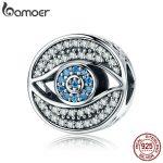 BAMOER Authentic 925 Sterling Silver Lucky Blue Eye Clear CZ Guarding Charm Beads fit Women Charm Bracelet DIY <b>Jewelry</b> SCC565