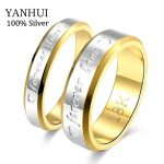 YANHUI Fine <b>Jewelry</b> <b>Wedding</b> Couple Rings Set For Lovers Real Silver Gold Filled Brand Engagement Rings for Men and Women JZR095