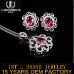 factory hot sale MEDBOO natural gemstone jewelry set 925 <b>silver</b> inlay pink topaz <b>earrings</b> pendant necklace sets for women