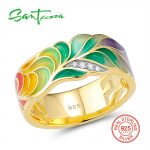 SANTUZZA Silver Ring For Women 925 Sterling Silver Fashion Rings Gold Color Cubic Zirconia Ringen Party <b>Jewelry</b> Enamel <b>Handmade</b>